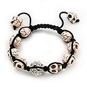 Antique White Skull Shape Stone Beads Shamballa Bracelet - 11mm diameter - Adjustable