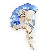 Violet Blue Enamel Diamante 'Flower' Brooch In Gold Plating - 55mm Length