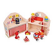 Bigjigs Toys BJ683 Mini Fire Station Playset