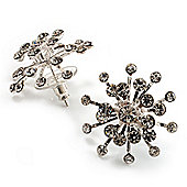 Clear Crystal Snowflake Stud Earrings (Silver Tone)