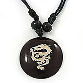 Unisex Black/ White Resin Medallion 'Dragon' Cotton Cord Pendant - Adjustable