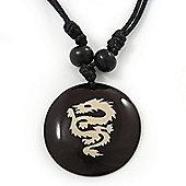 Unisex Black/ White Resin Medallion 'Dragon' Cotton Cord Pendant - Adjustable
