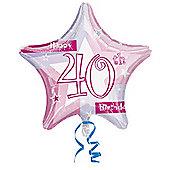 """""""18"""""""" Foil Balloon - 40th Star Pink (each)"""""""