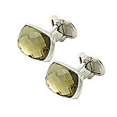 Smoky Quartz & Sterling Silver Bond Cufflinks by Babette Wasserman