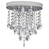 Savoy Cut Glass Flush Ceiling Light Chrome and Clear