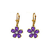 QP Jewellers Diamond & Amethyst Flower Leverback Earrings in 14K Gold