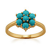 Gemondo 9ct Yellow Gold 0.73ct Turquoise Cabochon Floral Cluster Ring