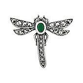 Gemondo 925 Silver Marcasite & Emerald Dragonfly Brooch