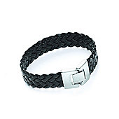 Tribal Steel Lambskin Braided Black Leather Bracelet - 22cm