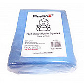Muslinz Premium High Quality Baby Muslin Squares (Blue, Pack of 12)
