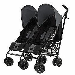 Obaby Apollo Black & Grey Twin Stroller - Grey