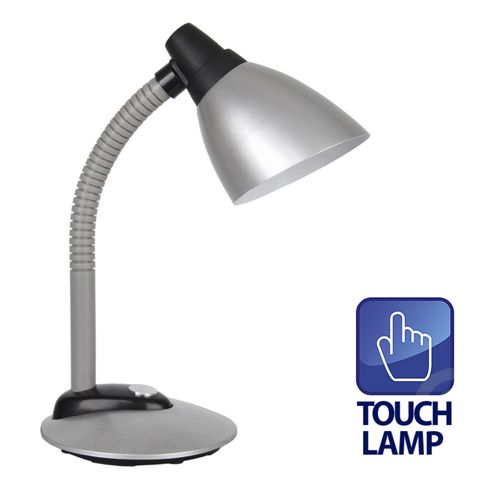 Adjustable Touch Button Desk Lamp in Silver