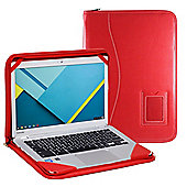 "Red Faux Leather Folio Case Cover For 11.6"" Laptop / Ultrabook"