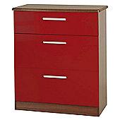 Welcome Furniture Knightsbridge 3 Drawer Deep Chest - Oak - Ruby