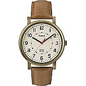 Timex Gents Org Classic Round Crm Dial Brn Stp Watch T2P220