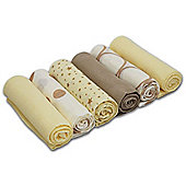 Cuddles Collection Pack of 6 Muslin Squares (Mixed Designs Gold)