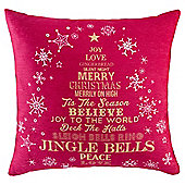 Festive Word Christmas Tree Cushion, Red