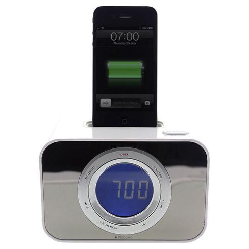 Kitsound Clock Radio Speakerdock, White, iPhone 4/4s