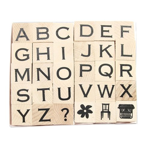 Copperplate Alphabet Rubber Stamp Set - 30pk