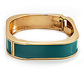 Turquoise Enamel Square Hinged Bangle Bracelet In Gold Plated Metal - 18cm Length