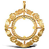 Jewelco London 9ct Solid Gold casted full-size flower design Sovereign coin pendant mount