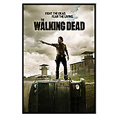 Gloss Black Framed The Walking Dead Fight The Dead, Fear The Living Poster