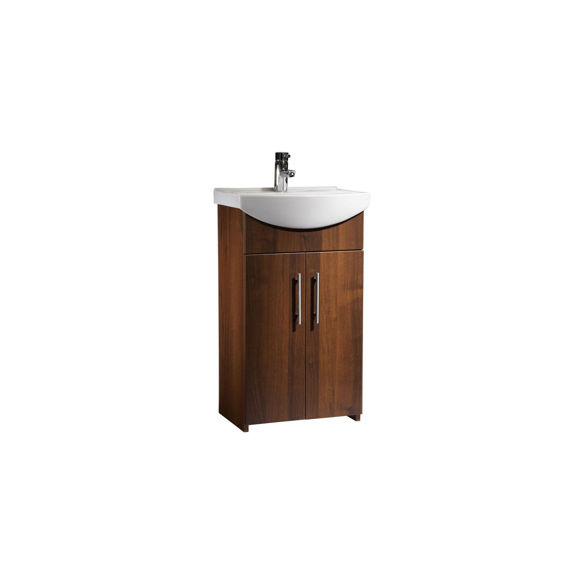 Tavistock Opal Walnut Floor Standing Cabinet and Basin - 1 Tap Hole - 500mm Wide