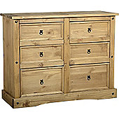Corona Mexican (3+3) 6 Drawer Chest Distressed Waxed Pine