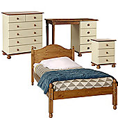 Nordic Cream and Pine Bedside, 2+4 Chest, Desk, Single Bed Package