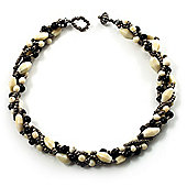 4 Strand Twisted Glass And Ceramic Choker Necklace (Black, White & Metallic Silver)