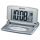Seiko LCD Travel & Desk Alarm Clock with Dual Time Calendar Grey Silver QHL021N
