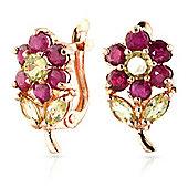 QP Jewellers Peridot & Ruby Flower Earrings in 14K Rose Gold