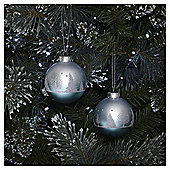 Silver Ombre Tree Scene Christmas Baubles, 2 pack
