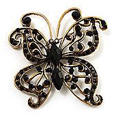 Vintage Jet Black Crystal Butterfly Brooch (Antique Gold)