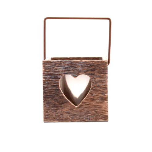 Rustic Wooden Tealight Holder with Heart Shape Cut Outs