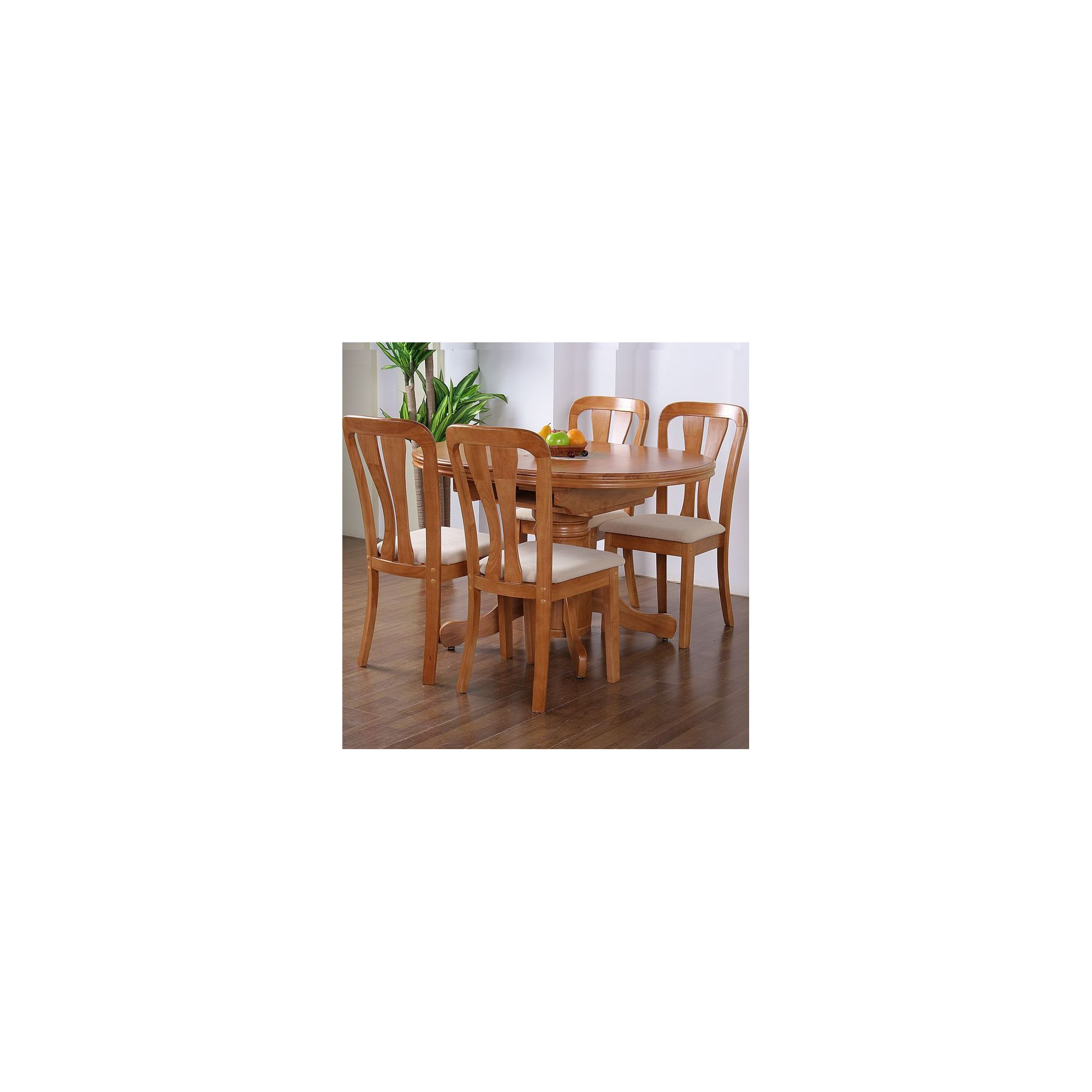 G&P Furniture Windsor House 5-Piece Stratford Oval Flip Top Extending Dining Set with Slatted Back Chair - Maple at Tesco Direct