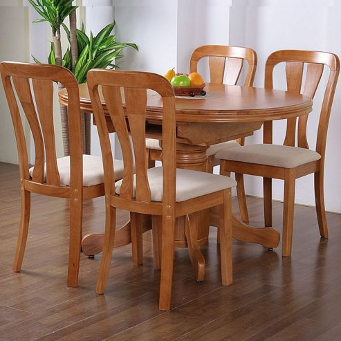 G&P Furniture Windsor House 5-Piece Stratford Oval Flip Top Extending Dining Set with Slatted Back Chair - Maple