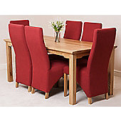 Aspen Solid Oak 150 cm Dining Table with 6 Lola Fabric chairs (Red)