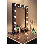 High Gloss Black Hollywood Makeup Mirror with Warm White LED lamps k112WW