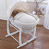 Clair de Lune Stardust White Wicker Moses Basket (Cream)