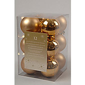 12 Gold Christmas Baubles - Shatterproof Plain Baubles - Pack 12 - Light Gold