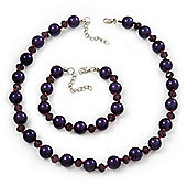 Purple Glass Pearl Necklace & Bracelet Set In Silver Plating - 38cm Length/ 4cm Extension