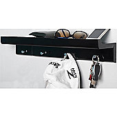 Oakley - Wall Mounted Organiser Shelf With 4 Key / Coat Hooks - Black