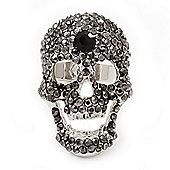 Dazzling Dimgrey Crystal Skull Cocktail Ring - Adjustable