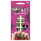 Black and Gold Zebra Design  Nail Art Glitter, Pack of 12