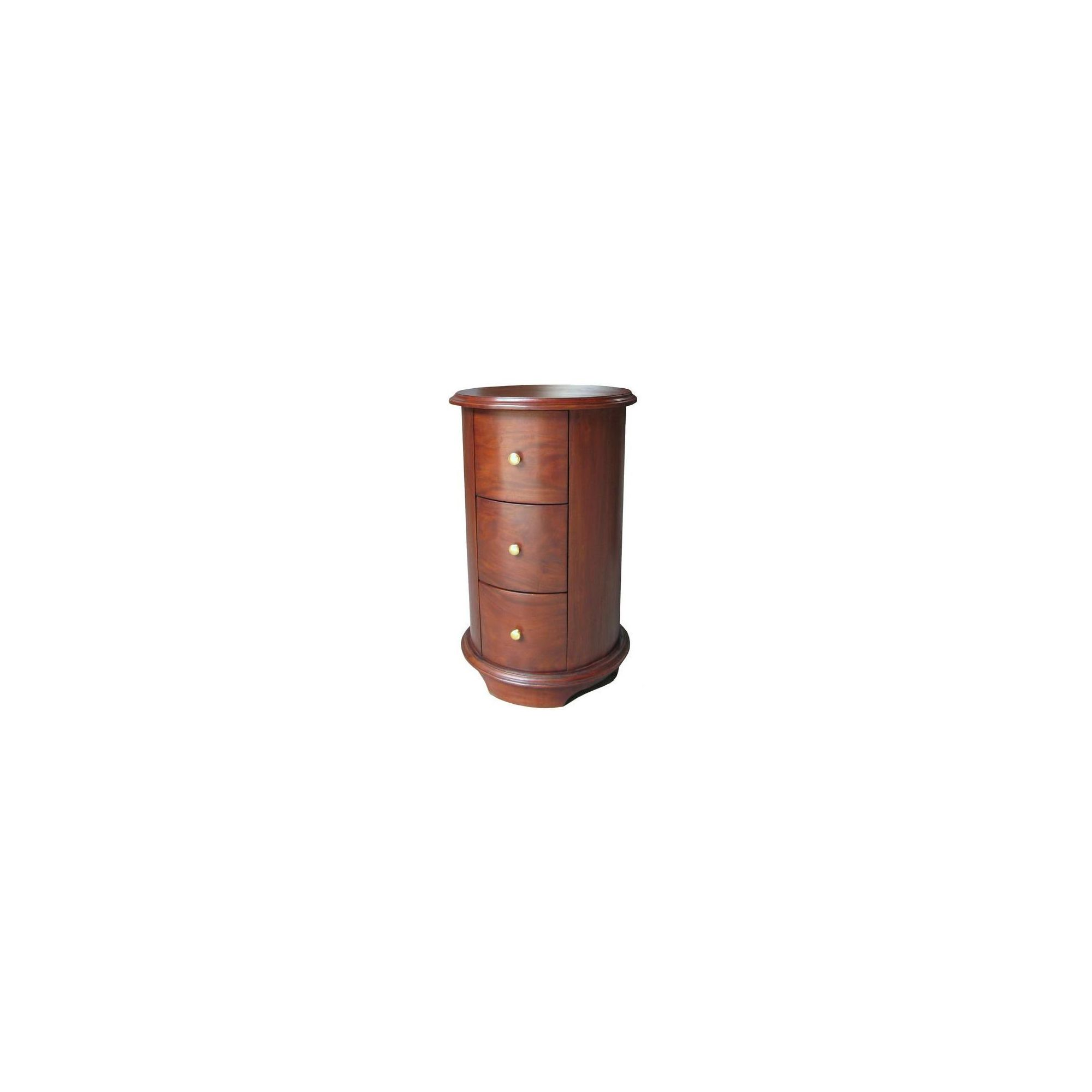 Lock stock and barrel Mahogany Round Bedside Table in Mahogany - Wax at Tescos Direct