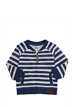 F&F Striped Zip-Through Cardigan - Blue & Grey