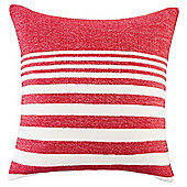Knitted Stripe Cushion, Red