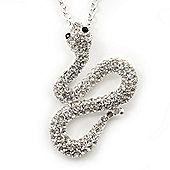 Swarovski Crystal 'Snake' Pendant With Long Silver Tone Chain - 66cm Length/ 10cm Extension