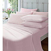 Catherine Lansfield Home Cosy Corner 145gsm Plain Dyed Flette King Size Bed Fitted Sheet Pink